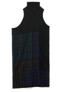 PLAID PANEL SLEEVELESS DRESS