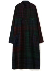 WOOL RAYON CHECK RAGLAN POCKET SHIRT DRESS