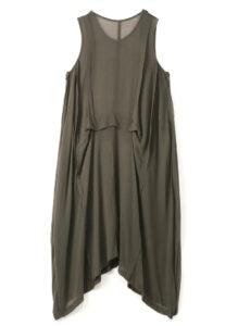 CHIFFON TUCK SLEEVELESS DRESS