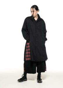 20/Cotton Twill Side Pleated Tartan Check Long Shirt Jacket