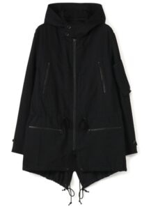 Y's BANG ON!No.89 Military hooded-Coat Black denim