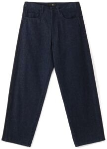 DENIM/COTTON FLEECE SIDE STRIPE PANTS