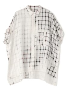 SMOKE BLEACH CHECK ROLL SLEEVE BLOUSE