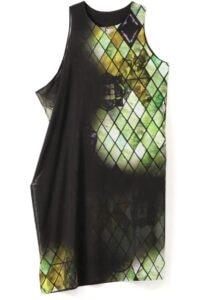 DIAMOND STAINED GLASS ASYMMETRICAL SLEEVELESS DRESS