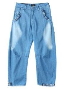 DENIM GUSSET WIDE PANTS