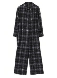 CARDED WOOL CHECK UNEVEN PRINT JUMPSUIT