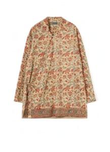 Indian Botanical Beige Ethnic Wrap Shirt