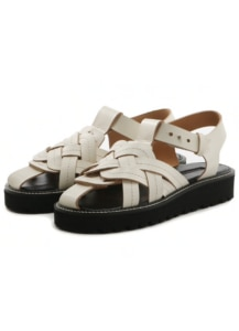 LEATHER A KNITTED SANDALS
