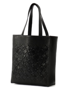 KNITTED LEATHER TOTE