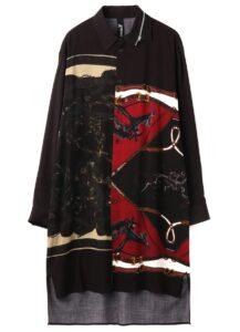Rayon Bandana pattern D Collar zipper shirt