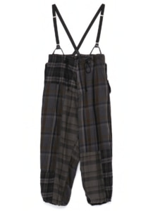 TWILL CHECKED SUSPENDER PANTS
